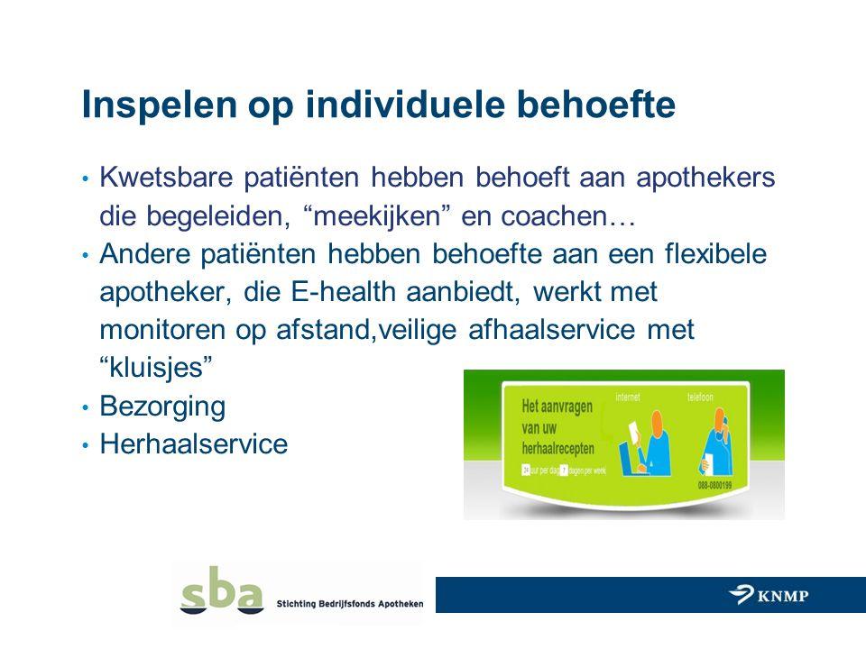 """Inspelen op individuele behoefte Kwetsbare patiënten hebben behoeft aan apothekers die begeleiden, """"meekijken"""" en coachen… Andere patiënten hebben beh"""