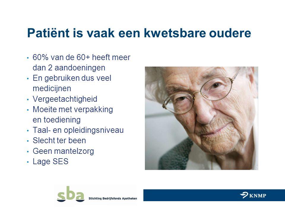 Patiënt is vaak een kwetsbare oudere 60% van de 60+ heeft meer dan 2 aandoeningen En gebruiken dus veel medicijnen Vergeetachtigheid Moeite met verpak