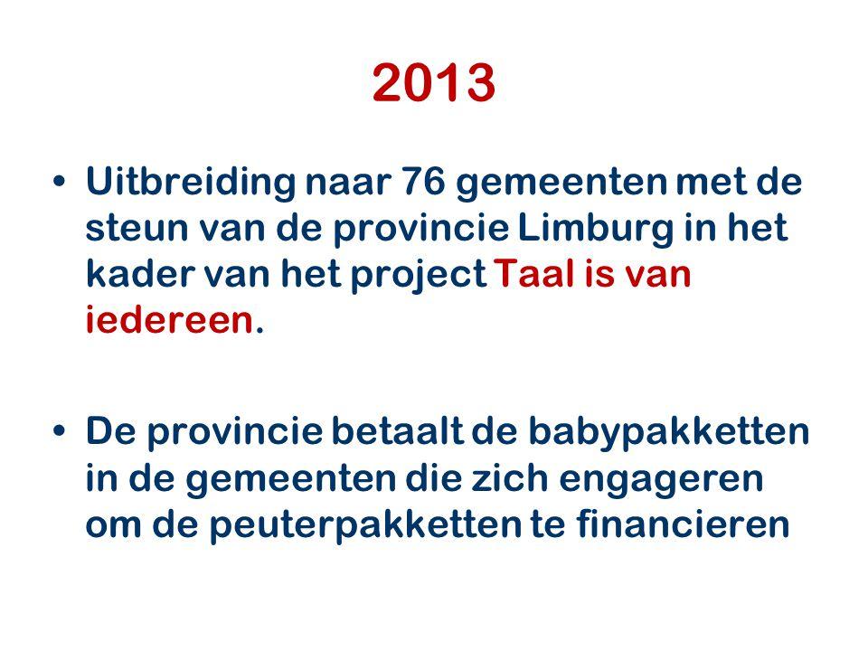 2013 Uitbreiding naar 76 gemeenten met de steun van de provincie Limburg in het kader van het project Taal is van iedereen.