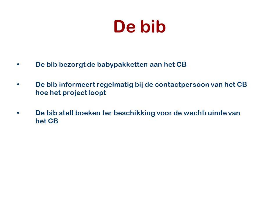 De bib De bib bezorgt de babypakketten aan het CB De bib informeert regelmatig bij de contactpersoon van het CB hoe het project loopt De bib stelt boe