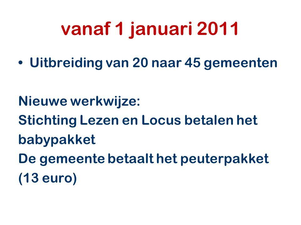 vanaf 1 januari 2011 Uitbreiding van 20 naar 45 gemeenten Nieuwe werkwijze: Stichting Lezen en Locus betalen het babypakket De gemeente betaalt het pe