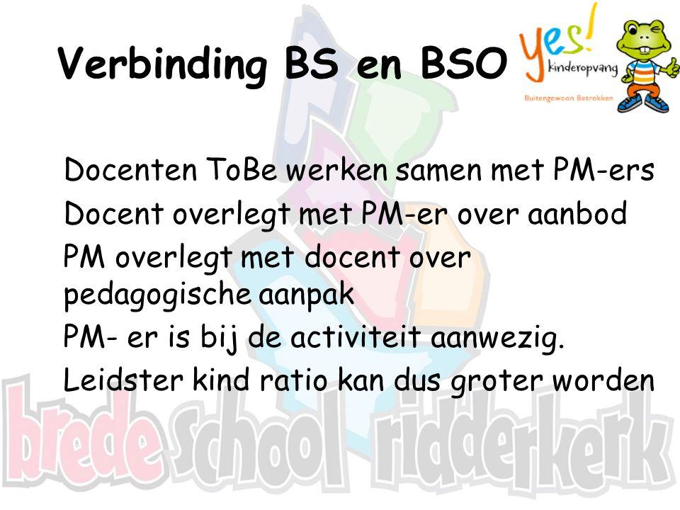 Verbinding BS en BSO Docenten ToBe werken samen met PM-ers Docent overlegt met PM-er over aanbod PM overlegt met docent over pedagogische aanpak PM- e