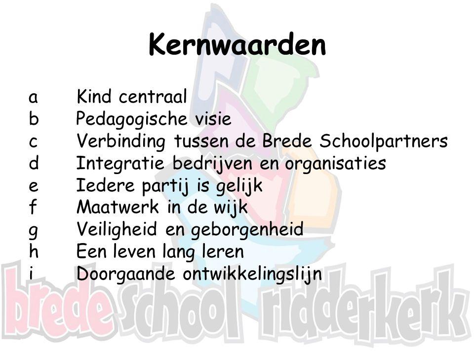 Hoofddoelen Brede School De twee hoofddoelen van de Brede School zijn: Het tot stand brengen van een doorlopende ontwikkelingslijn van 0 tot 23 jaar op alle aspecten die van belang zijn bij het opgroeien; Het tot stand brengen c.q.