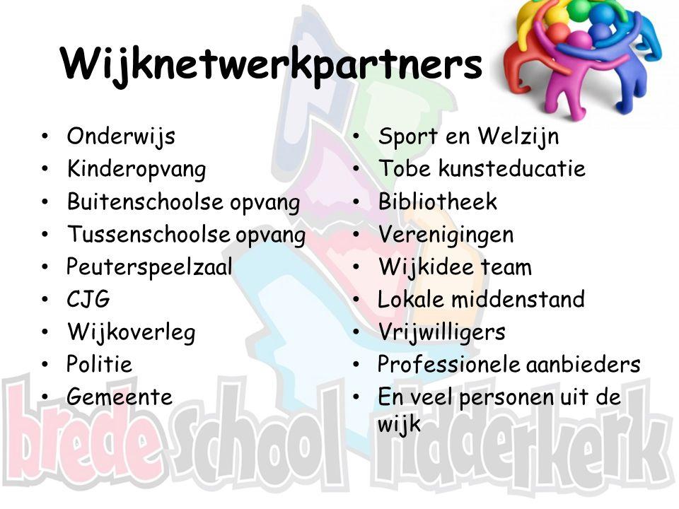 Wijknetwerkpartners Onderwijs Kinderopvang Buitenschoolse opvang Tussenschoolse opvang Peuterspeelzaal CJG Wijkoverleg Politie Gemeente Sport en Welzi