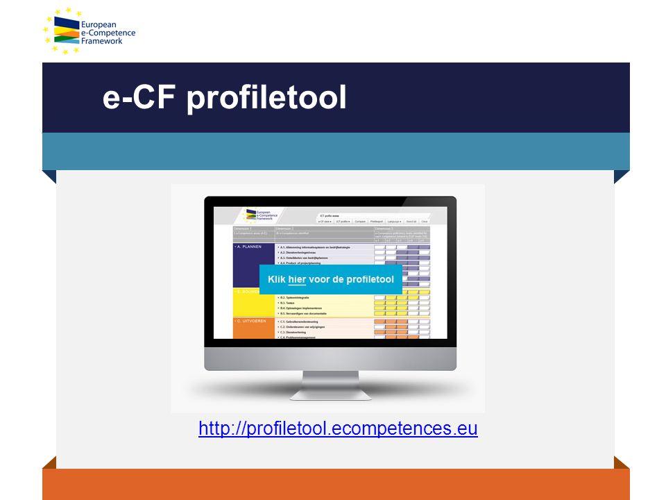 Meepraten over e-CF  Graag nodigen we iedereen uit om mee te praten, vragen te stellen over het e-CF: o Meld je aan bij LinkedIn-group: E-CF: het European e-Competence Framework in Nederland o Volg e-CF op Twitter: #eCF#eCF