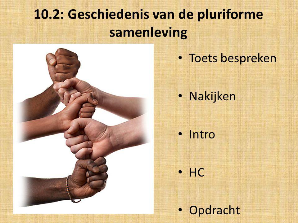 10.2: Geschiedenis van de pluriforme samenleving Toets bespreken Nakijken Intro HC Opdracht