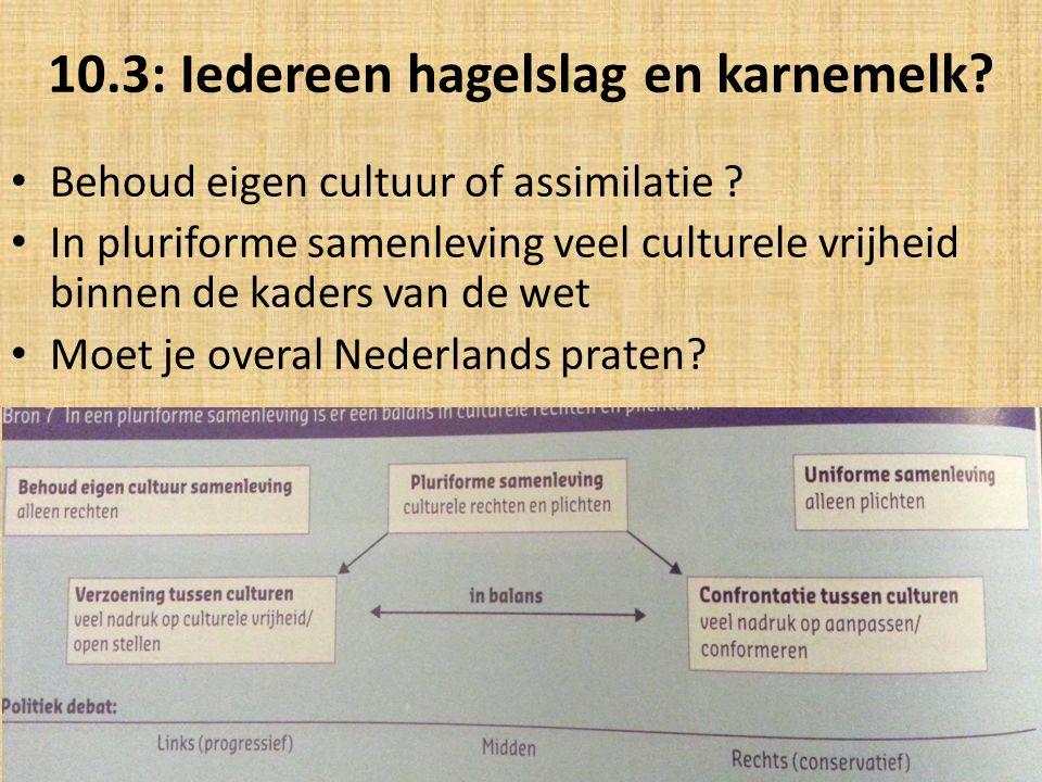 10.3: Iedereen hagelslag en karnemelk? Behoud eigen cultuur of assimilatie ? In pluriforme samenleving veel culturele vrijheid binnen de kaders van de