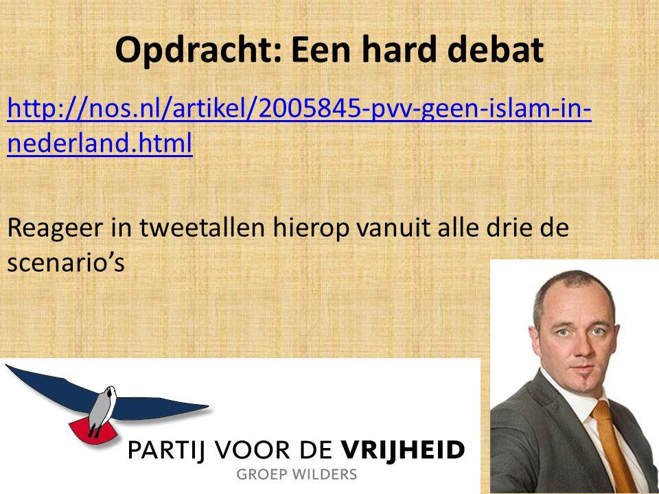 Opdracht: Een hard debat http://nos.nl/artikel/2005845-pvv-geen-islam-in- nederland.html Reageer in tweetallen hierop vanuit alle drie de scenario's