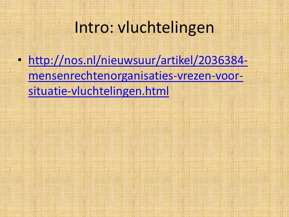 Intro: vluchtelingen http://nos.nl/nieuwsuur/artikel/2036384- mensenrechtenorganisaties-vrezen-voor- situatie-vluchtelingen.html http://nos.nl/nieuwsu