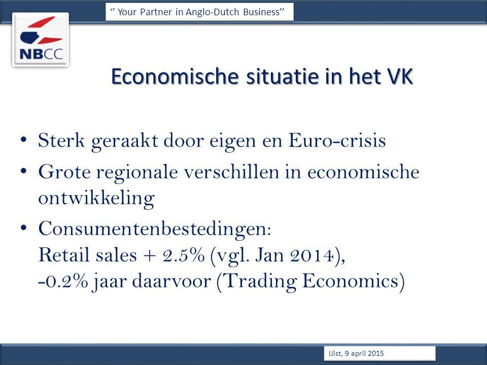 Economische situatie in het VK Sterk geraakt door eigen en Euro-crisis Grote regionale verschillen in economische ontwikkeling Consumentenbestedingen: Retail sales + 2.5% (vgl.