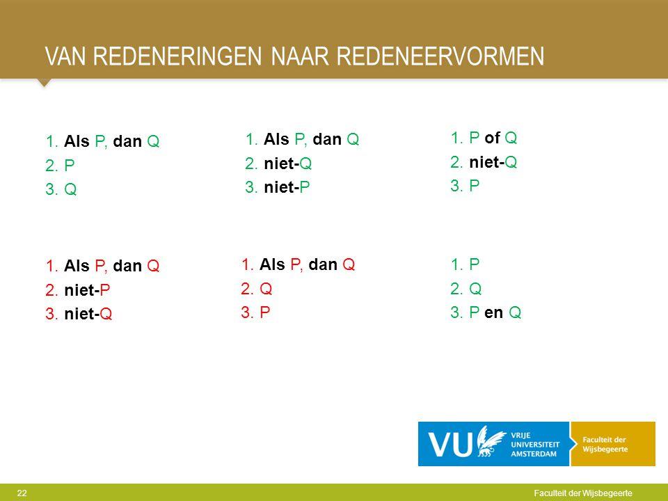 VAN REDENERINGEN NAAR REDENEERVORMEN 22 Faculteit der Wijsbegeerte 1. Als P, dan Q 2. P 3. Q 1. Als P, dan Q 2. niet-Q 3. niet-P 1. P of Q 2. niet-Q 3