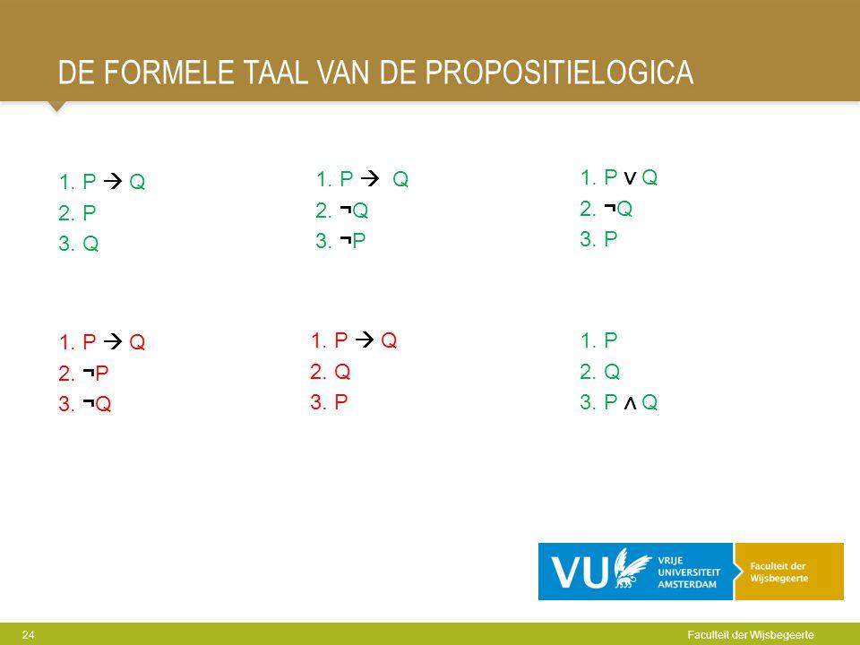 DE FORMELE TAAL VAN DE PROPOSITIELOGICA 24 Faculteit der Wijsbegeerte 1. P  Q 2. P 3. Q 1. P  Q 2. ¬Q 3. ¬P 1. P ∨ Q 2. ¬Q 3. P 1. P  Q 2. ¬P 3. ¬Q