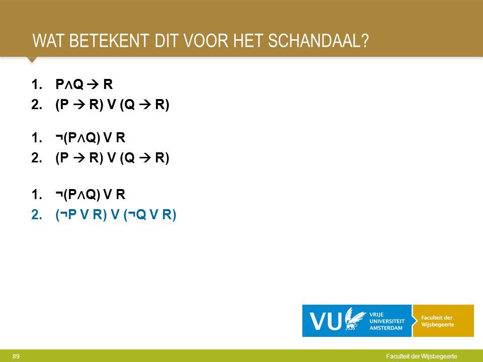 WAT BETEKENT DIT VOOR HET SCHANDAAL? 89 Faculteit der Wijsbegeerte 1.P ∧ Q  R 2.(P  R) V (Q  R) 1.¬(P ∧ Q) V R 2.(¬P V R) V (¬Q V R) 1.P ∧ Q  R 2.