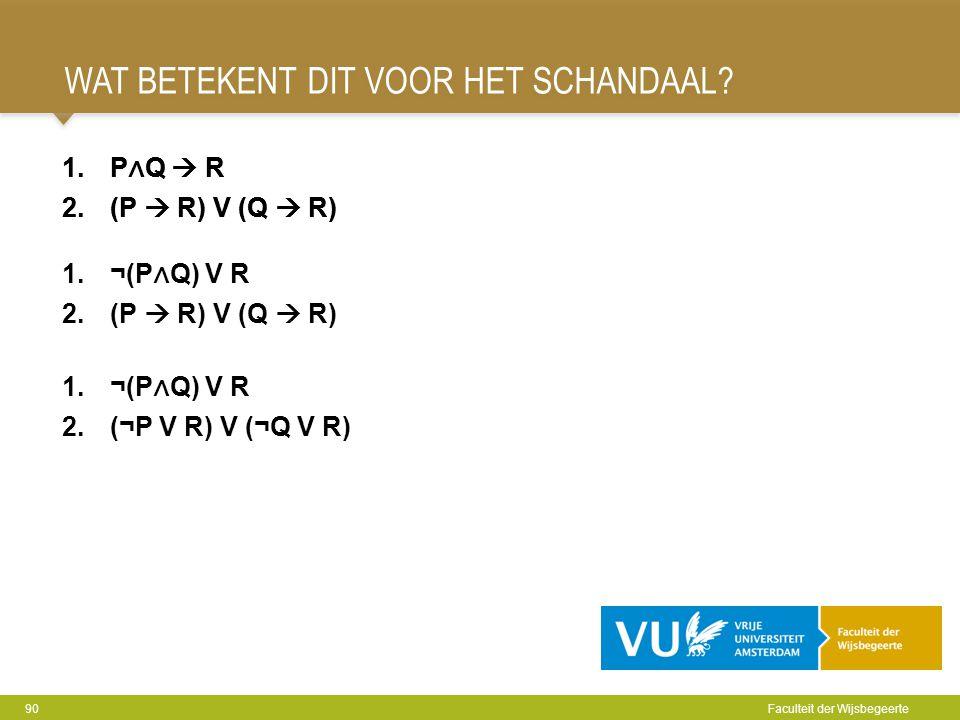 WAT BETEKENT DIT VOOR HET SCHANDAAL? 90 Faculteit der Wijsbegeerte 1.P ∧ Q  R 2.(P  R) V (Q  R) 1.¬(P ∧ Q) V R 2.(¬P V R) V (¬Q V R) 1.P ∧ Q  R 2.