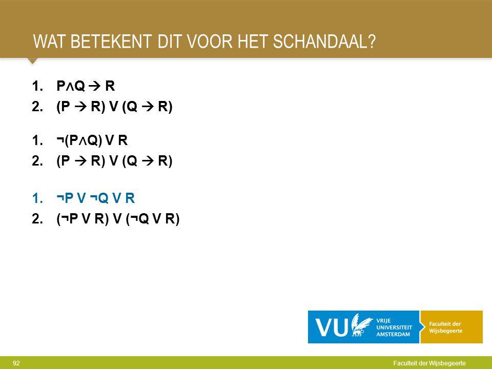 WAT BETEKENT DIT VOOR HET SCHANDAAL? 92 Faculteit der Wijsbegeerte 1.P ∧ Q  R 2.(P  R) V (Q  R) 1.¬P V ¬Q V R 2.(¬P V R) V (¬Q V R) 1.P ∧ Q  R 2.(
