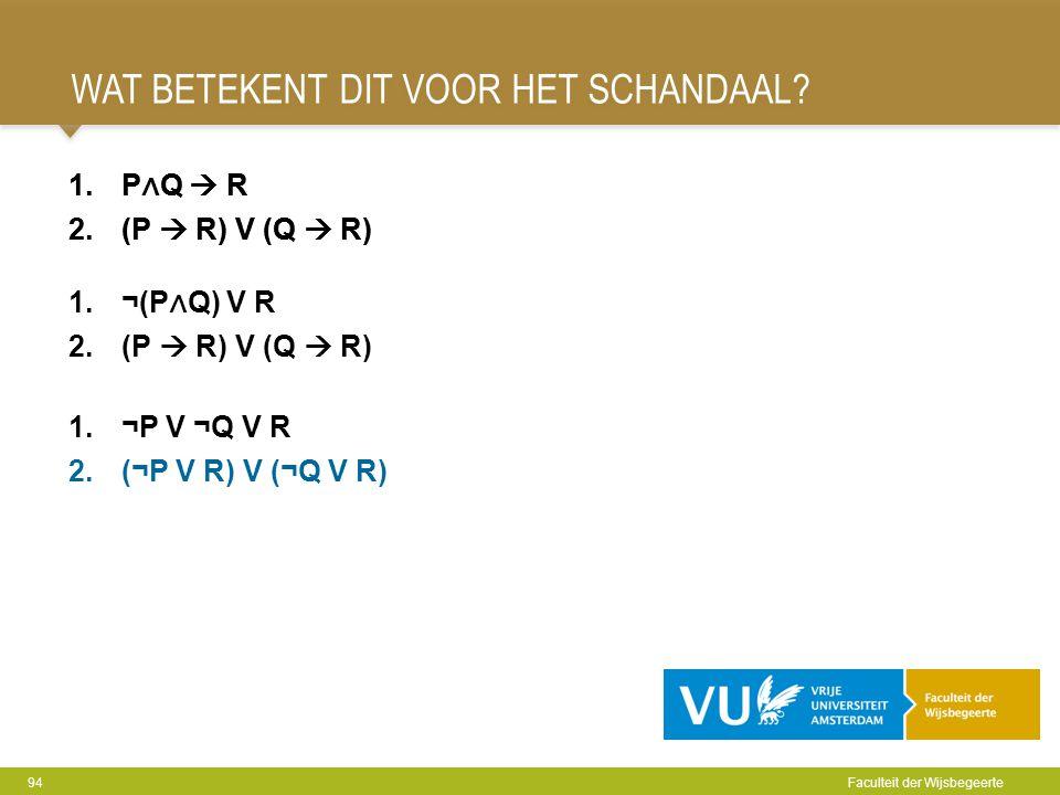 WAT BETEKENT DIT VOOR HET SCHANDAAL? 94 Faculteit der Wijsbegeerte 1.P ∧ Q  R 2.(P  R) V (Q  R) 1.¬P V ¬Q V R 2.(¬P V R) V (¬Q V R) 1.P ∧ Q  R 2.(