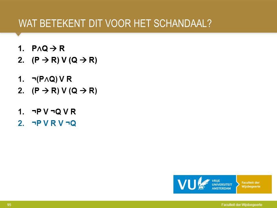 WAT BETEKENT DIT VOOR HET SCHANDAAL? 95 Faculteit der Wijsbegeerte 1.P ∧ Q  R 2.(P  R) V (Q  R) 1.¬P V ¬Q V R 2.¬P V R V ¬Q 1.P ∧ Q  R 2.(P  R) V