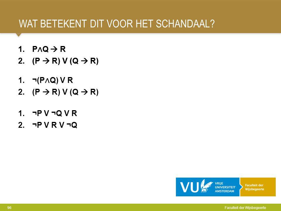 WAT BETEKENT DIT VOOR HET SCHANDAAL? 96 Faculteit der Wijsbegeerte 1.P ∧ Q  R 2.(P  R) V (Q  R) 1.¬P V ¬Q V R 2.¬P V R V ¬Q 1.P ∧ Q  R 2.(P  R) V