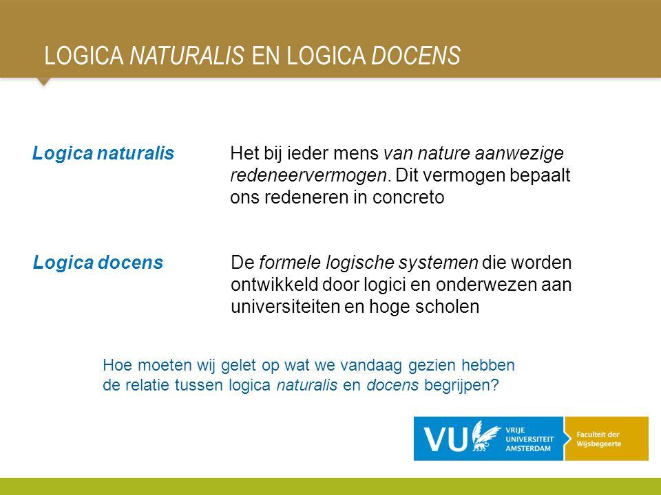 LOGICA NATURALIS EN LOGICA DOCENS 98 Logica naturalisHet bij ieder mens van nature aanwezige redeneervermogen. Dit vermogen bepaalt ons redeneren in c