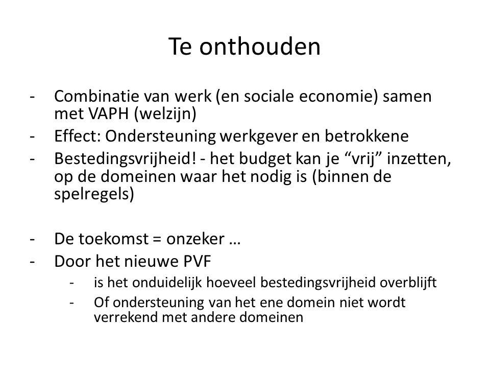 Te onthouden -Combinatie van werk (en sociale economie) samen met VAPH (welzijn) -Effect: Ondersteuning werkgever en betrokkene -Bestedingsvrijheid.