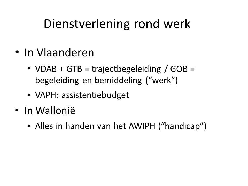 Dienstverlening rond werk In Vlaanderen VDAB + GTB = trajectbegeleiding / GOB = begeleiding en bemiddeling ( werk ) VAPH: assistentiebudget In Wallonië Alles in handen van het AWIPH ( handicap )