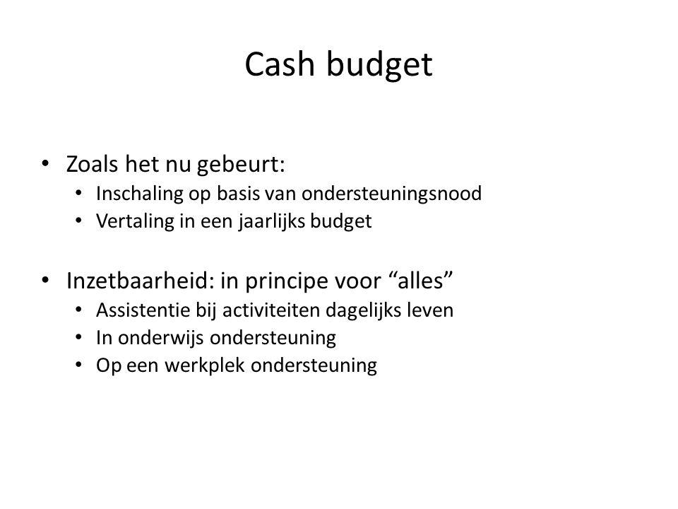 Cash budget Zoals het nu gebeurt: Inschaling op basis van ondersteuningsnood Vertaling in een jaarlijks budget Inzetbaarheid: in principe voor alles Assistentie bij activiteiten dagelijks leven In onderwijs ondersteuning Op een werkplek ondersteuning