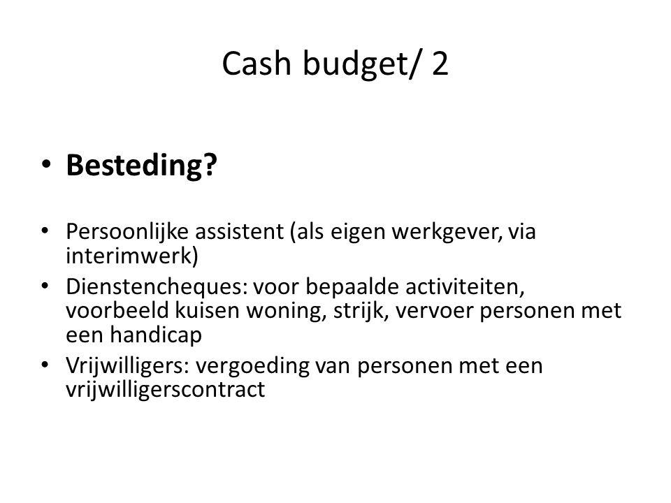 Cash budget/ 2 Besteding.