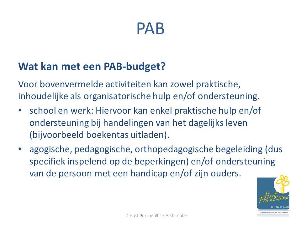 PAB Wat kan niet met een PAB-budget.