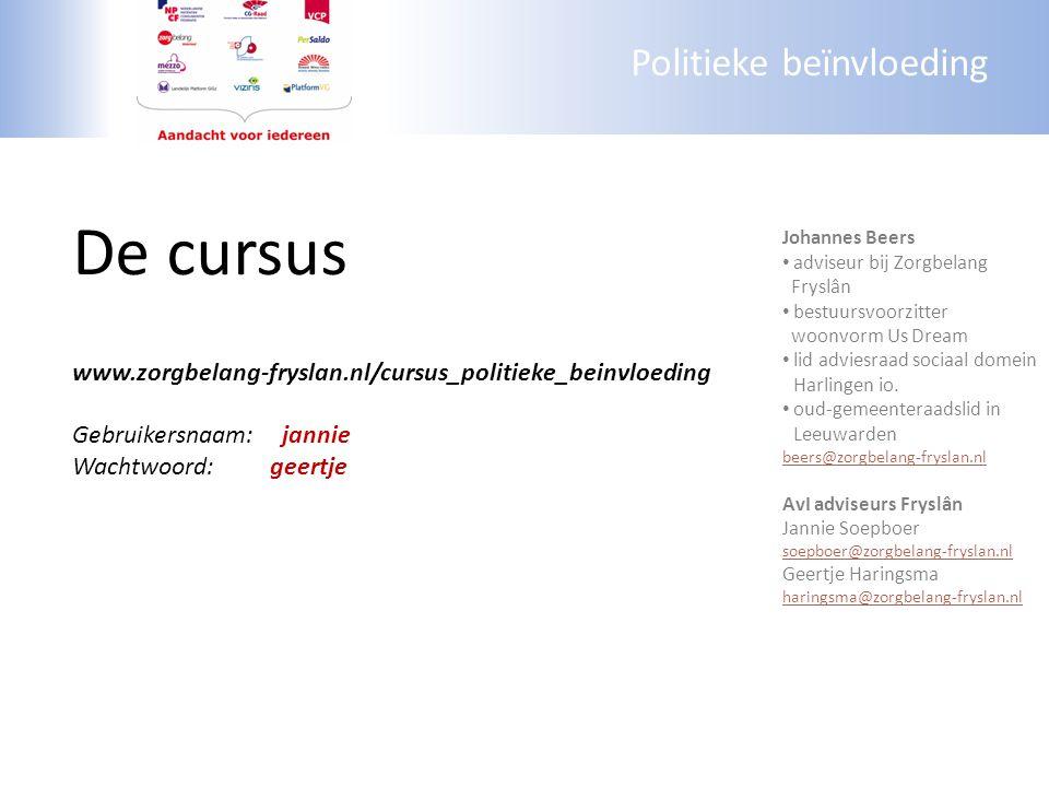 Politieke beïnvloeding De cursus www.zorgbelang-fryslan.nl/cursus_politieke_beinvloeding Gebruikersnaam:jannie Wachtwoord: geertje Johannes Beers advi
