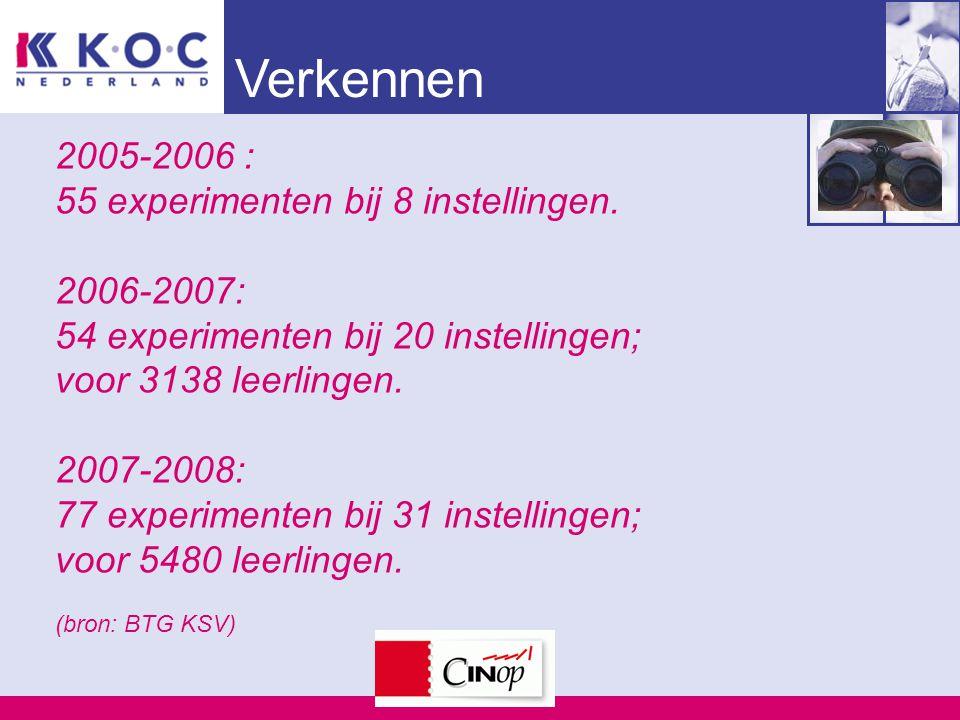 Verkennen 2005-2006 : 55 experimenten bij 8 instellingen. 2006-2007: 54 experimenten bij 20 instellingen; voor 3138 leerlingen. 2007-2008: 77 experime