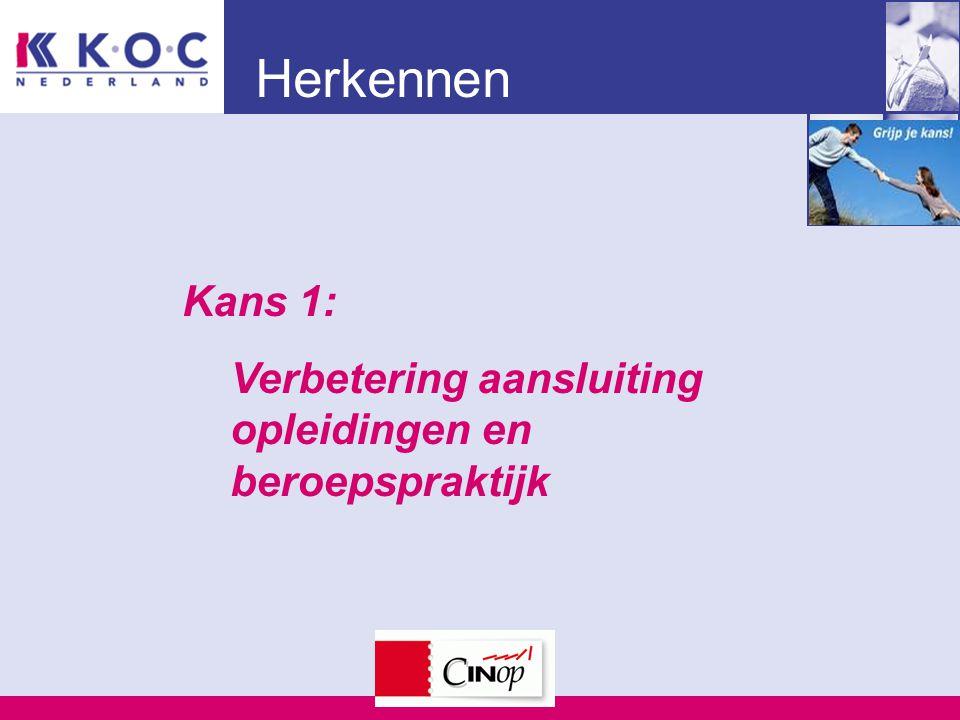 Herkennen Kans 1: Verbetering aansluiting opleidingen en beroepspraktijk