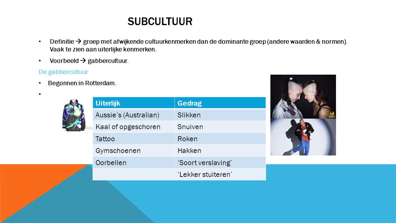 SUBCULTUUR Definitie  groep met afwijkende cultuurkenmerken dan de dominante groep (andere waarden & normen).