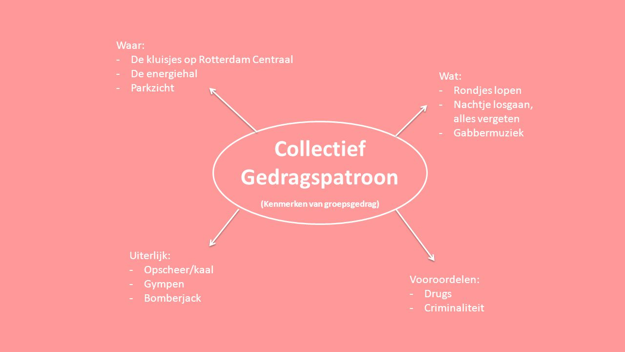 Collectief Gedragspatroon (Kenmerken van groepsgedrag) Waar: -De kluisjes op Rotterdam Centraal -De energiehal -Parkzicht Wat: -Rondjes lopen -Nachtje losgaan, alles vergeten -Gabbermuziek Uiterlijk: -Opscheer/kaal -Gympen -Bomberjack Vooroordelen: -Drugs -Criminaliteit