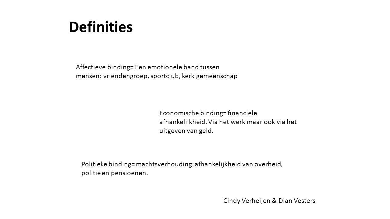 Affectieve binding= Een emotionele band tussen mensen: vriendengroep, sportclub, kerk gemeenschap Economische binding= financiële afhankelijkheid.