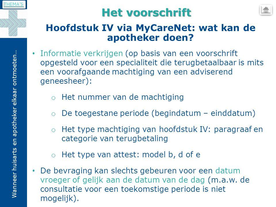 Wanneer huisarts en apotheker elkaar ontmoeten… Hoofdstuk IV via MyCareNet: wat kan de apotheker doen.