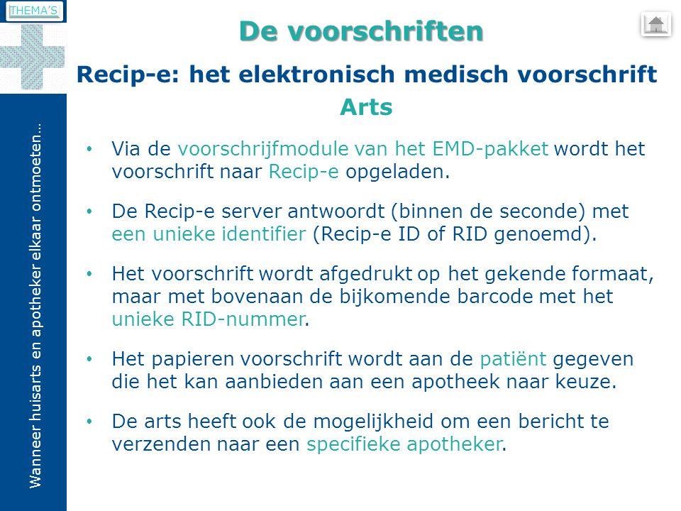Wanneer huisarts en apotheker elkaar ontmoeten… Recip-e: het elektronisch medisch voorschrift Arts De voorschriften Via de voorschrijfmodule van het EMD-pakket wordt het voorschrift naar Recip-e opgeladen.