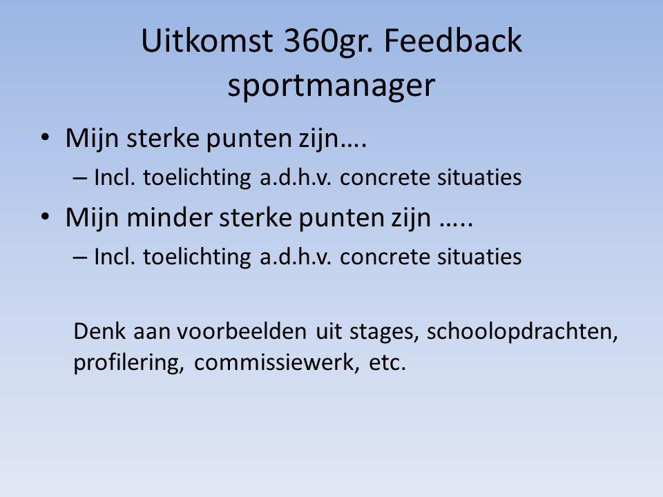 Uitkomst 360gr. Feedback sportmanager Mijn sterke punten zijn…. – Incl. toelichting a.d.h.v. concrete situaties Mijn minder sterke punten zijn ….. – I