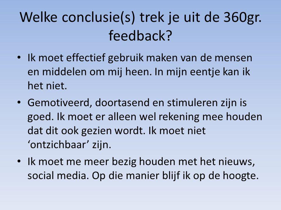 Welke conclusie(s) trek je uit de 360gr. feedback? Ik moet effectief gebruik maken van de mensen en middelen om mij heen. In mijn eentje kan ik het ni