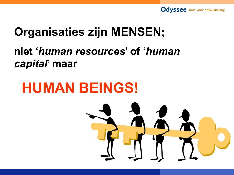 Organisaties zijn MENSEN ; niet 'human resources' of 'human capital' maar HUMAN BEINGS!