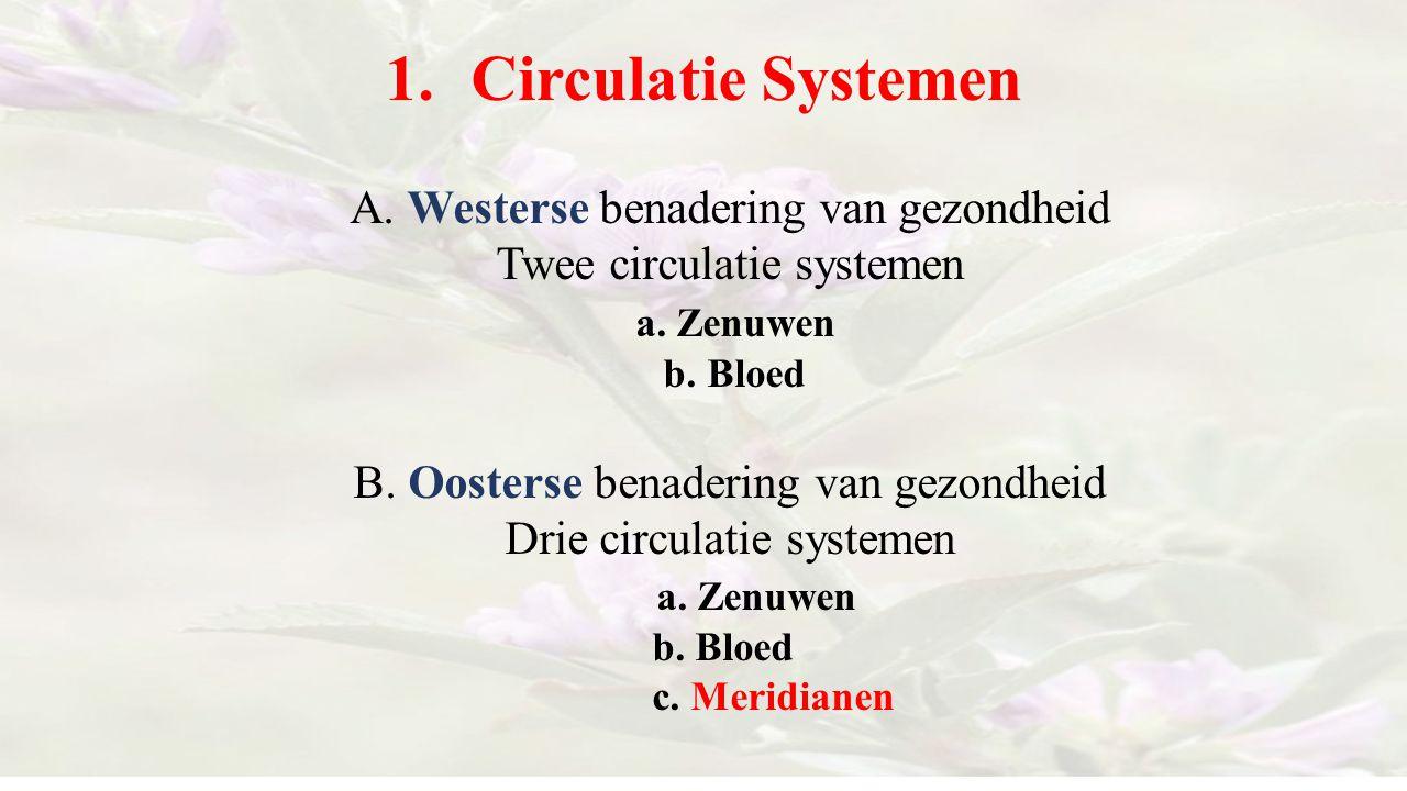 1.Circulatie Systemen A. Westerse benadering van gezondheid Twee circulatie systemen a. Zenuwen b. Bloed B. Oosterse benadering van gezondheid Drie ci