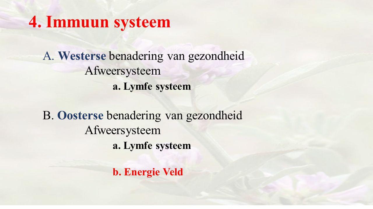 4. Immuun systeem A. Westerse benadering van gezondheid Afweersysteem a. Lymfe systeem B. Oosterse benadering van gezondheid Afweersysteem a. Lymfe sy