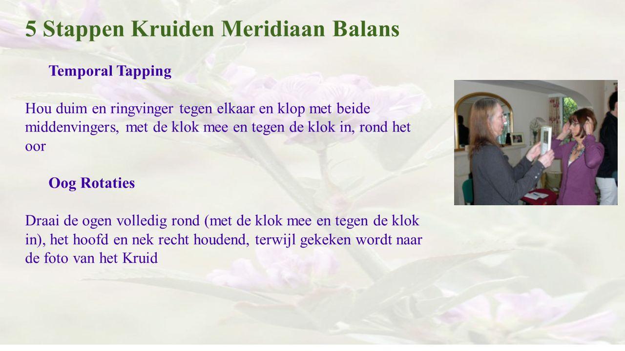 5 Stappen Kruiden Meridiaan Balans Temporal Tapping Hou duim en ringvinger tegen elkaar en klop met beide middenvingers, met de klok mee en tegen de k