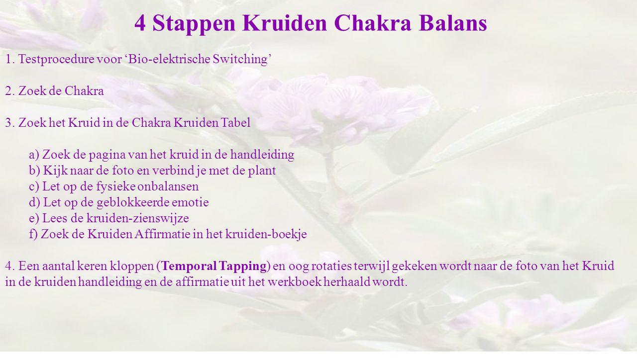 4 Stappen Kruiden Chakra Balans 1. Testprocedure voor 'Bio-elektrische Switching' 2. Zoek de Chakra 3. Zoek het Kruid in de Chakra Kruiden Tabel a) Zo