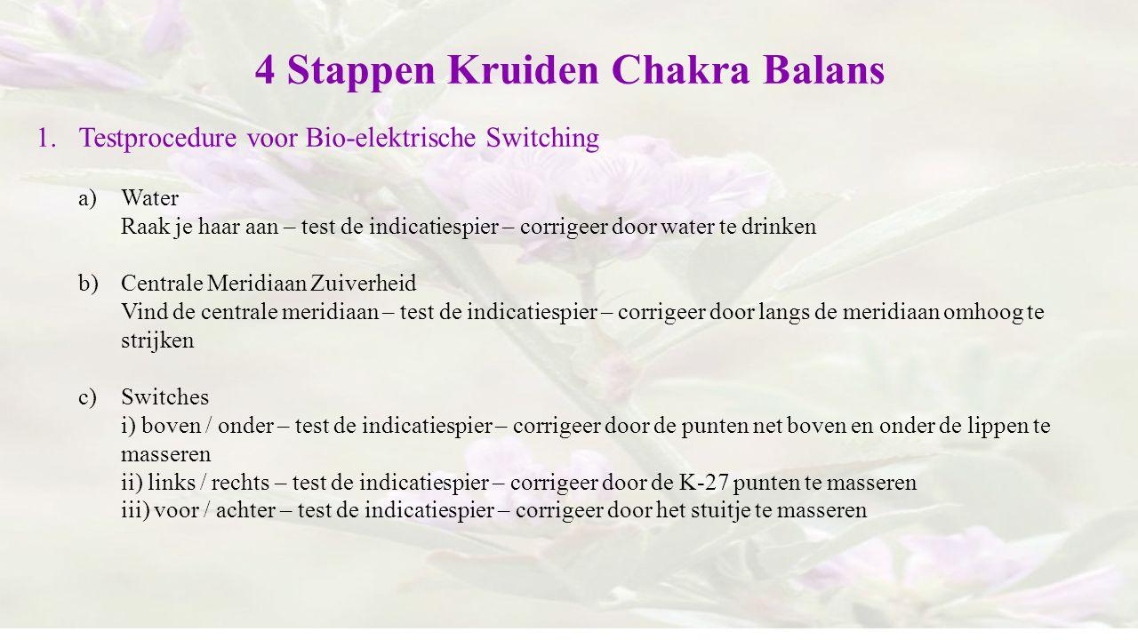 4 Stappen Kruiden Chakra Balans 1.Testprocedure voor Bio-elektrische Switching a)Water Raak je haar aan – test de indicatiespier – corrigeer door wate
