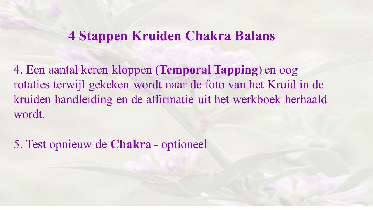 4 Stappen Kruiden Chakra Balans 4. Een aantal keren kloppen (Temporal Tapping) en oog rotaties terwijl gekeken wordt naar de foto van het Kruid in de