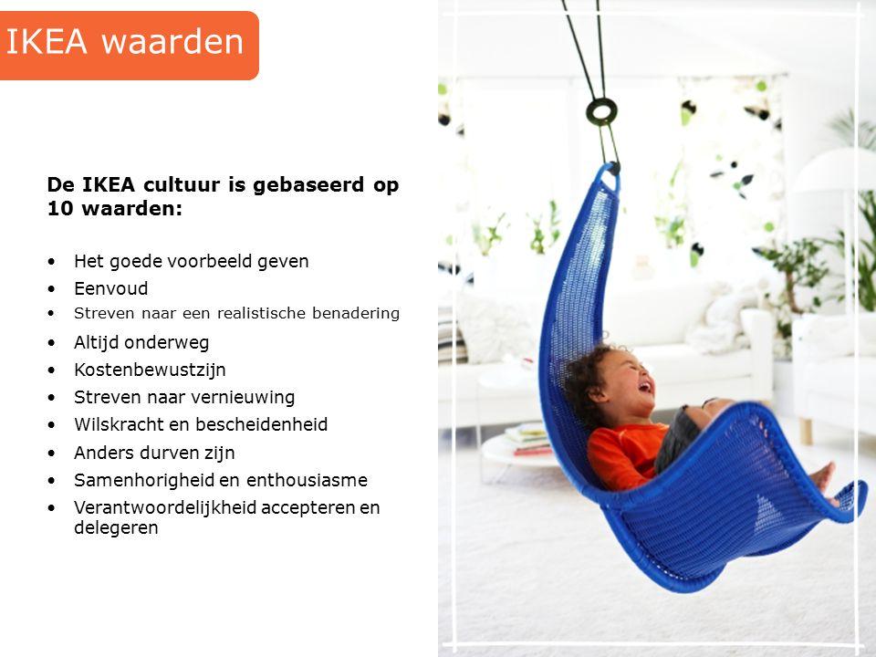 De IKEA cultuur is gebaseerd op 10 waarden: IKEA waarden Het goede voorbeeld geven Eenvoud Streven naar een realistische benadering Altijd onderweg Ko