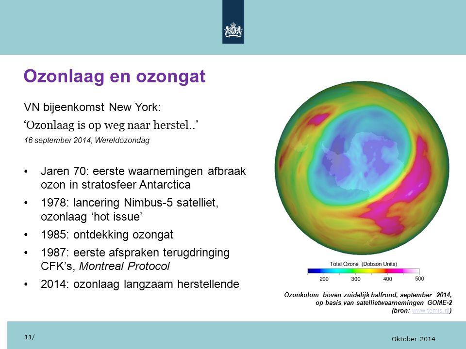 Ozonlaag en ozongat 11/ Oktober 2014 VN bijeenkomst New York: 'Ozonlaag is op weg naar herstel..' 16 september 2014, Wereldozondag Jaren 70: eerste waarnemingen afbraak ozon in stratosfeer Antarctica 1978: lancering Nimbus-5 satelliet, ozonlaag 'hot issue' 1985: ontdekking ozongat 1987: eerste afspraken terugdringing CFK's, Montreal Protocol 2014: ozonlaag langzaam herstellende Ozonkolom boven zuidelijk halfrond, september 2014, op basis van satellietwaarnemingen GOME-2 (bron: www.temis.nl)www.temis.nl