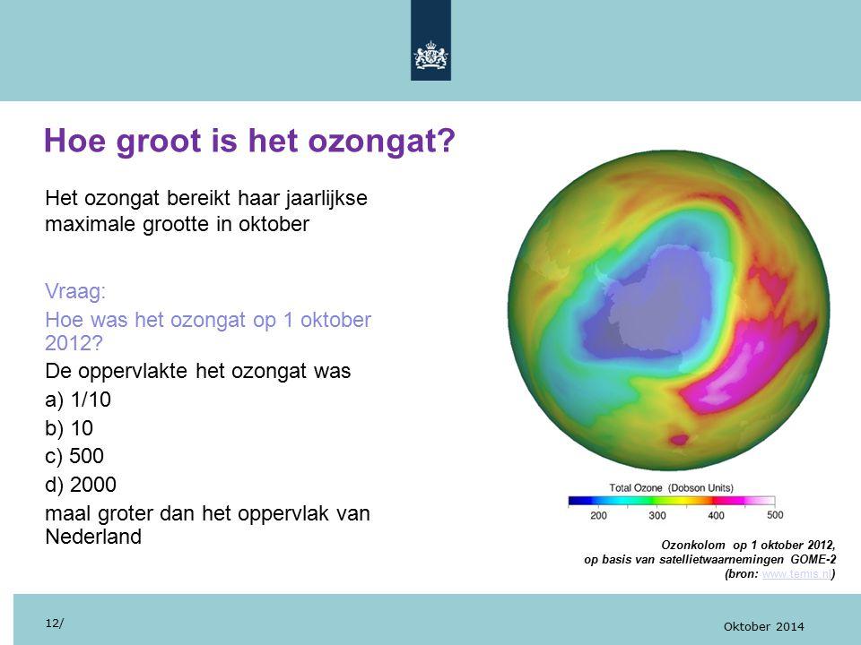 Hoe groot is het ozongat? 12/ Oktober 2014 Het ozongat bereikt haar jaarlijkse maximale grootte in oktober Vraag: Hoe was het ozongat op 1 oktober 201