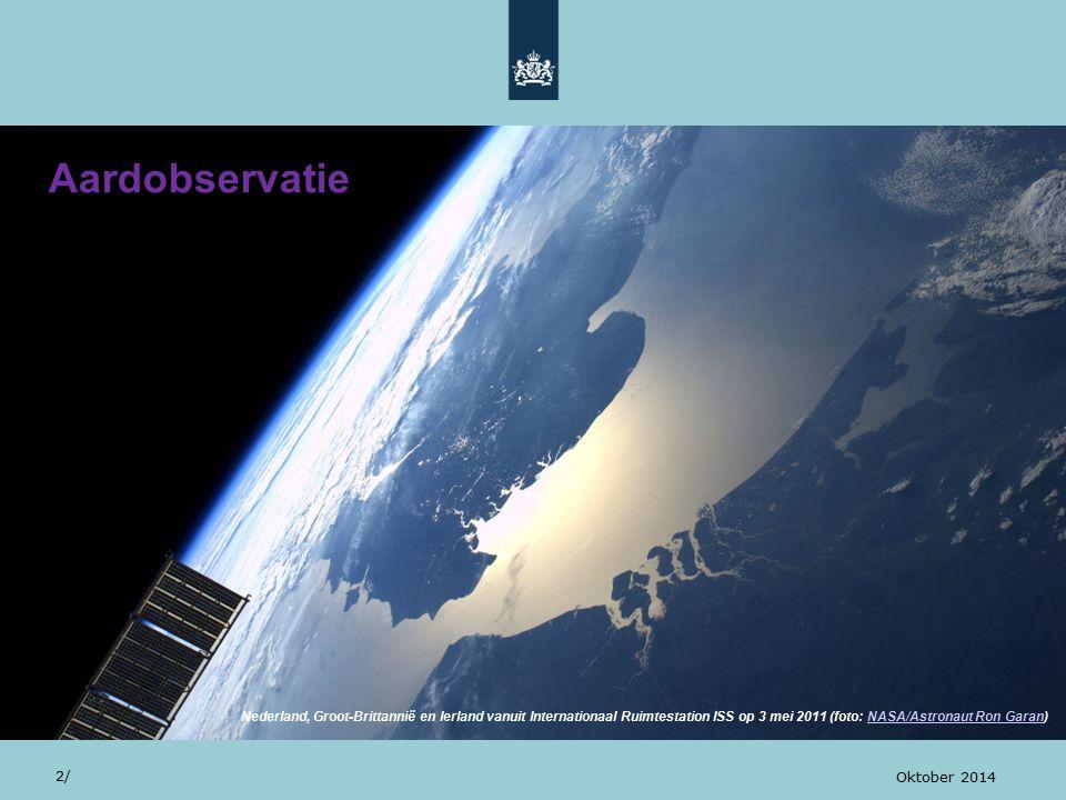 Aardobservatie 2/ Oktober 2014 Nederland, Groot-Brittannië en Ierland vanuit Internationaal Ruimtestation ISS op 3 mei 2011 (foto: NASA/Astronaut Ron Garan)NASA/Astronaut Ron Garan