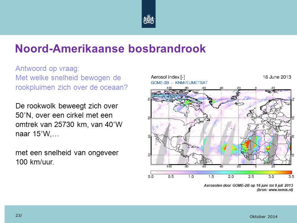 Noord-Amerikaanse bosbrandrook 23/ Oktober 2014 Antwoord op vraag: Met welke snelheid bewogen de rookpluimen zich over de oceaan? De rookwolk beweegt